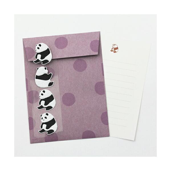ミドリ レターセット396 パンダ柄 シール付 86396006