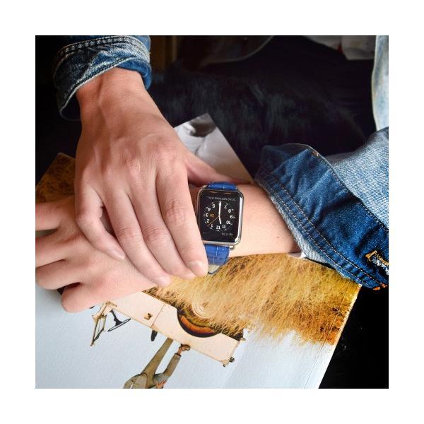GAZE ゲイズ Apple Watch 38mm用バンド Cobalt Blue Croco GZ0482AW