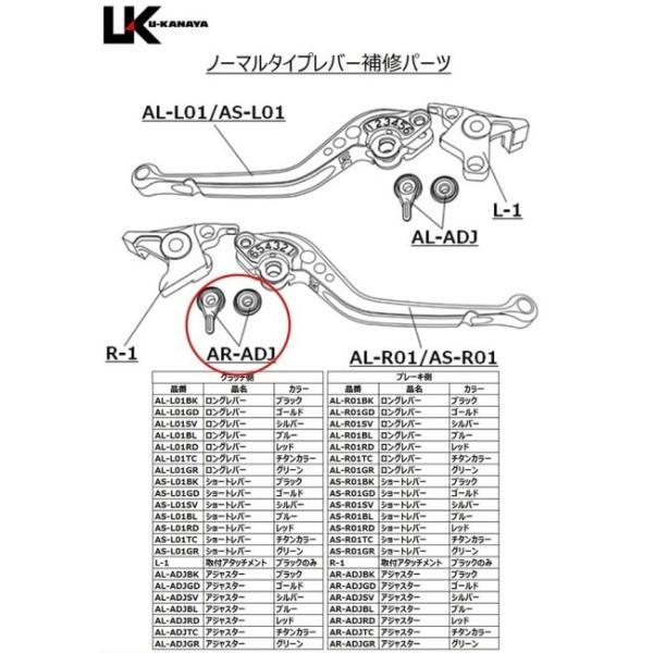 U-KANAYA U-KANAYA:ユーカナヤ 【補修パーツ】 ノーマルタイプ用 ブレーキ側アジャスター(調整つまみ) アジャスターカラー:チタンカラー