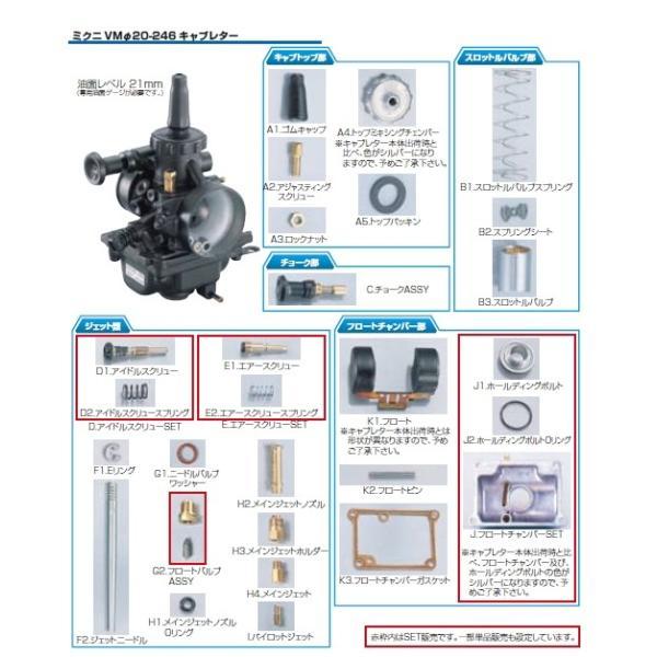 KITACO KITACO:キタコ VM20-246キャブレター用補修パーツ E.エアースクリューセット(401-0901100) ミクニ VMΦ20-246 キャブレター