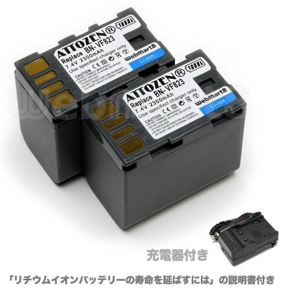 ビクター BN-VF823 互換バッテリー 2個セット充電器付き