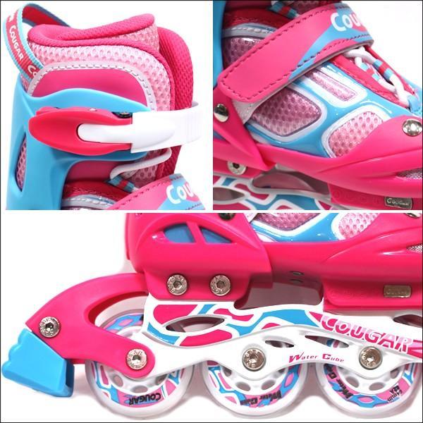 インラインスケート 子供用 COUGAR クーガー ピンク×ブルー ローラーブレード 子供 インラインスケート ジュニア websports 03