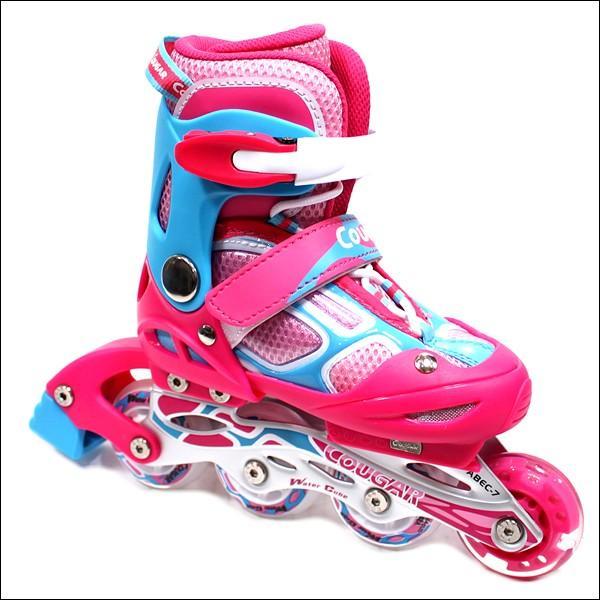 インラインスケート 子供用 COUGAR クーガー ピンク×ブルー ローラーブレード 子供 インラインスケート ジュニア websports 04