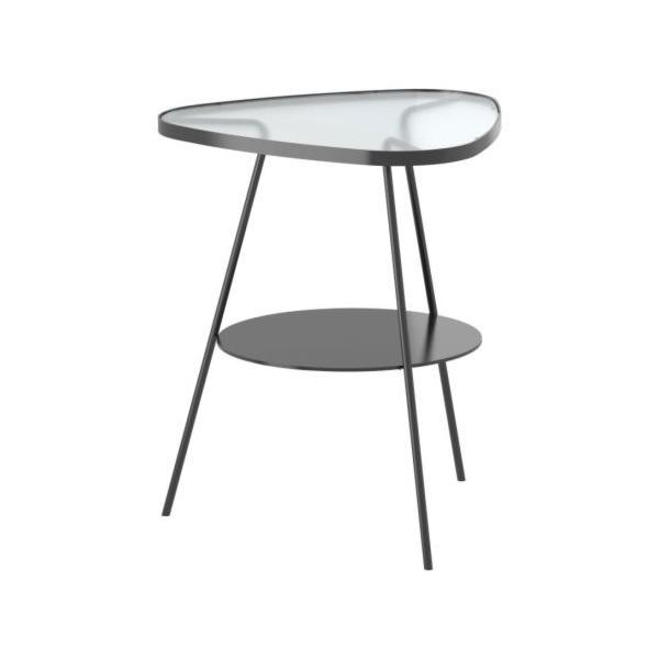 IKEA/イケア ULSBERG ベッドサイドテーブル, ダークグレー, フロストガラスの写真