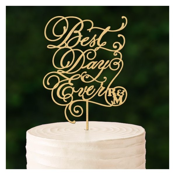 ケーキトッパーカリグラフィーイニシャル入り「BestDayEver」|weddingdecor