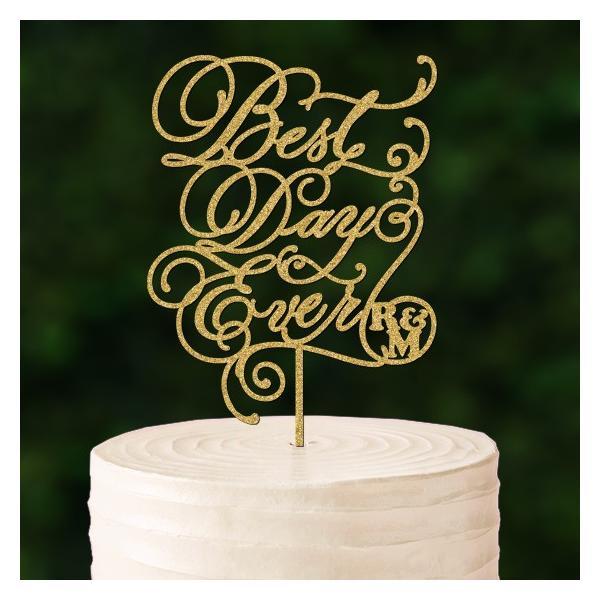 ケーキトッパーカリグラフィーイニシャル入り「BestDayEver」|weddingdecor|02