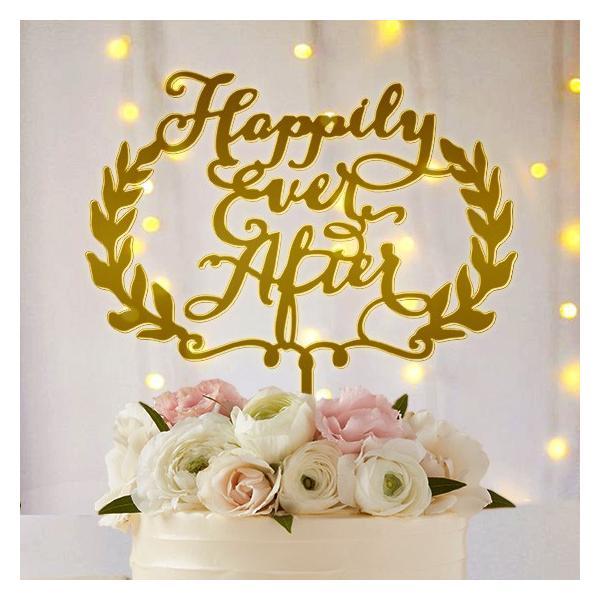 ケーキトッパー「HappilyEverAfter」リース型|weddingdecor
