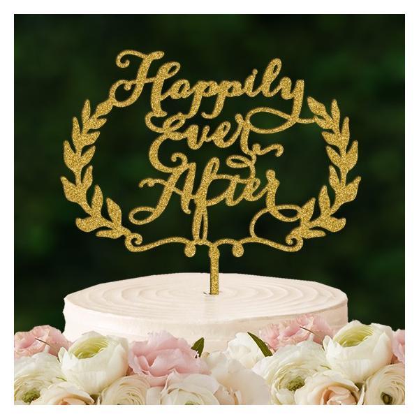 ケーキトッパー「HappilyEverAfter」リース型|weddingdecor|02