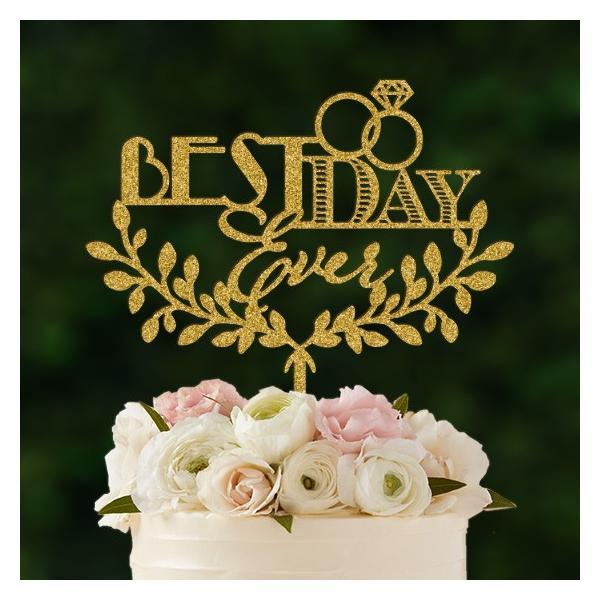 ケーキトッパー「bestdayever」フォント&リース型|weddingdecor