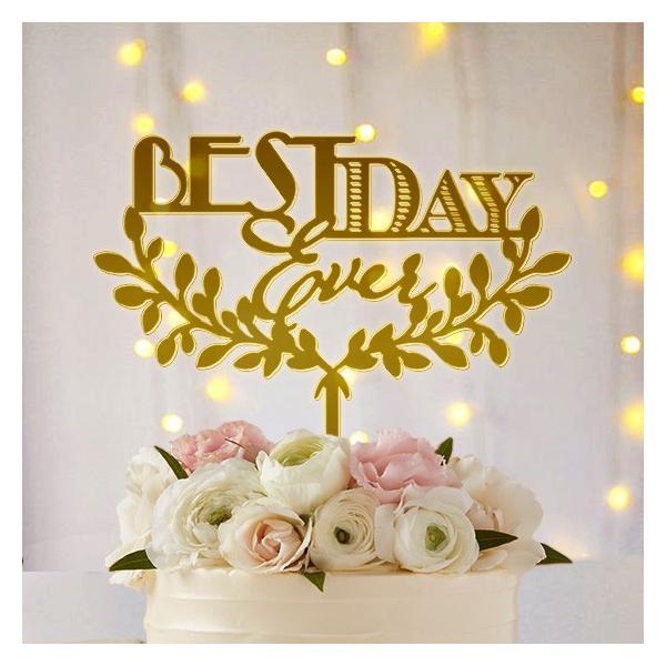 ケーキトッパー「bestdayever」フォント&リース型|weddingdecor|02