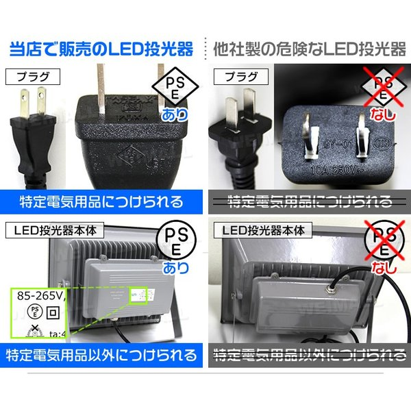 LED投光器 50W 500W相当 防水 LEDライト 作業灯 防犯 ワークライト 看板照明 led 投光器 電球色 昼光色 50w コンセント付 一年保証|weimall|04