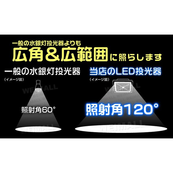 LED投光器 50W 500W相当 防水 LEDライト 作業灯 防犯 ワークライト 看板照明 昼光色 電球色 (2個セット)|weimall|08