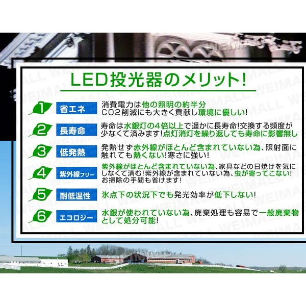 LED投光器 50W 500W相当 防水 LEDライト 薄型LED 作業灯 防犯灯 ワークライト 看板照明 昼光色 電球色  2個セット 一年保証|weimall|12