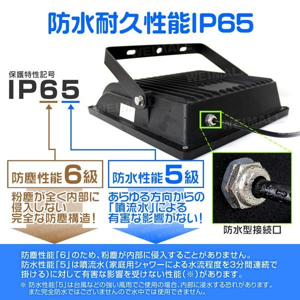 LED投光器 50W 500W相当 防水 LEDライト 薄型LED 作業灯 防犯灯 ワークライト 看板照明 昼光色 電球色  2個セット 一年保証|weimall|09