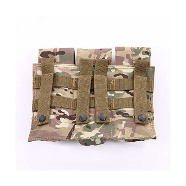 Catsobat 3連マガジンポーチ サバイバルゲーム装備品 Molleタイプ M4 M16 AK g36 収納可能 (MC迷彩)|wejectstore|06