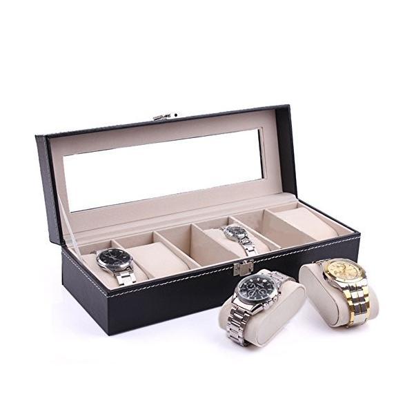ロジクロ 高級感 腕時計収納ケース コレクションケース ロック付き 6本収納用 ブラックレザー調 プレゼント