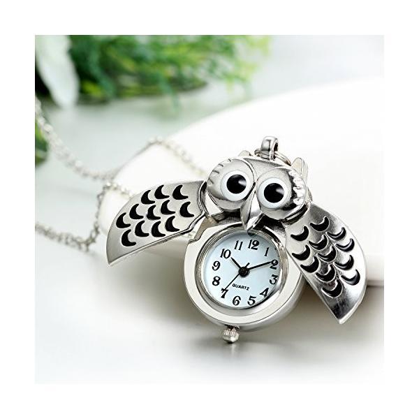 JewelryWe オリジナル 可愛い フクロウ 懐中時計 クーオツ 文字盤 ウオッチ アクセサリー セーターの