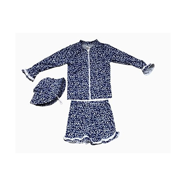 c5fb04842a22a Bonverano ベビー水着 女の子 長袖 ラッシュガード キャップ付き UPF50+紫外線対策 UVカット セパレートの