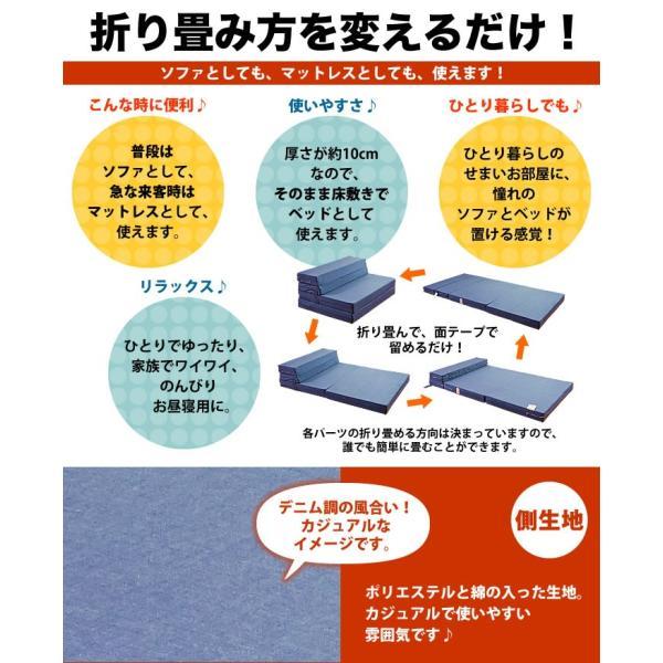 ソファベッド 折りたたみ シングル 4way 厚さ10センチ 硬め 日本製 無地 ネイビー 圧縮《ソファマットレスS NV》 well808 02