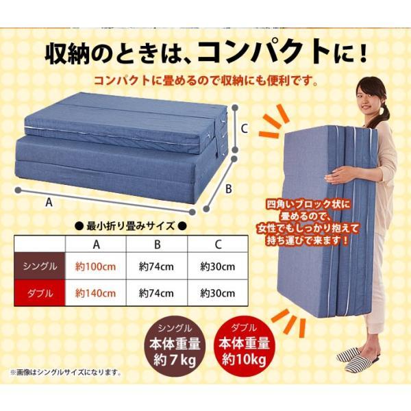 ソファベッド 折りたたみ シングル 4way 厚さ10センチ 硬め 日本製 無地 ネイビー 圧縮《ソファマットレスS NV》 well808 08