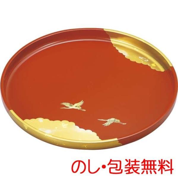 純金箔工芸 歓び 9.0丸盆(古代朱塗)【代引不可】