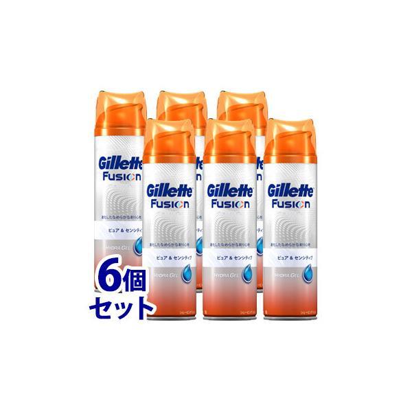 《セット販売》 P&G ジレット フュージョン シェービングジェル ピュア&センシティブ (195g)×6個セット カミソリ 髭剃り P&G