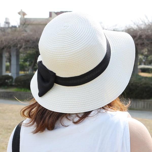 帽子 レディース リボン クロッシュ ツバ広 ペーパー ストロー 麦わら 帽子 紫外線 UV ケア UV対策 持ち運び たためる 春 夏 ha-581
