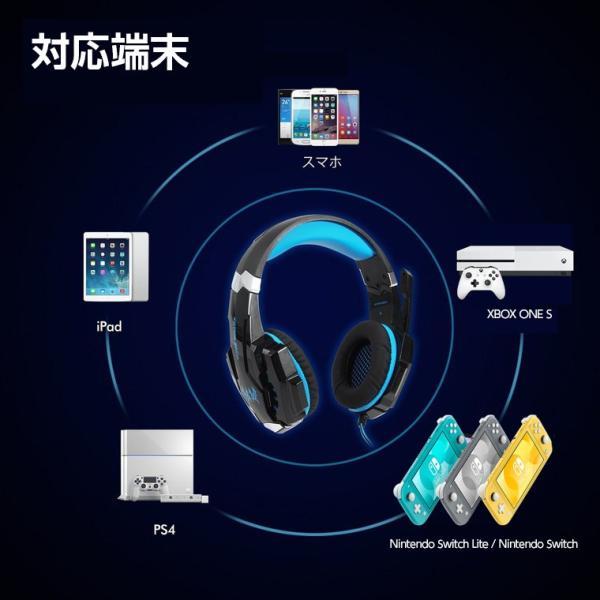 ゲーミングヘッドセット PS4 KOTION EACH ヘッドセット マイク ヘッドホン G9000 高集音性マイク LEDライト マイク位置360度調整可能 最高音質 white-bang 03