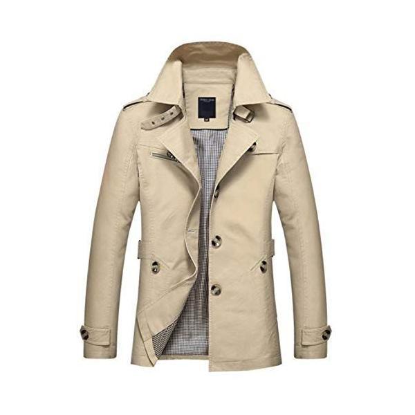 メンズトレンチコートハーフ丈ジャケットシンプル無地アウタービジネスカジュアル秋冬サイズいろいろブランドかわいい