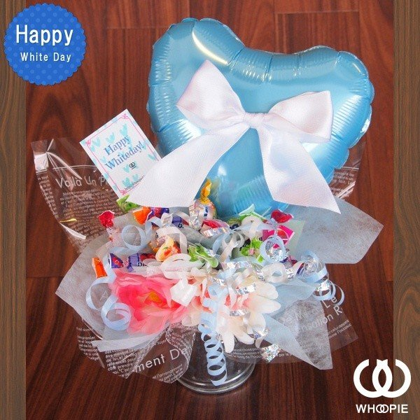 ホワイトデーキャンディブーケ・リボン&ブルービッグハート|whoopie|02