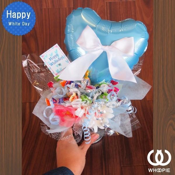 ホワイトデーキャンディブーケ・リボン&ブルービッグハート|whoopie|03