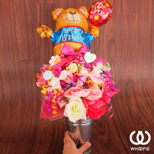 バルーン&ピンクキャンディブーケ「バースデーベア」|whoopie|03