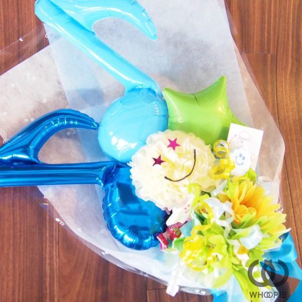 音符バルーンとスマイルの発表会おめでとうキャンディブーケ・ブルー|whoopie|02