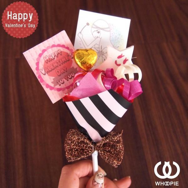 大量注文OK!バレンタインnicoピック付きチョコレートブーケピックタイプ・ストライプ