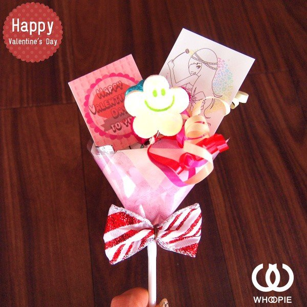 大量注文OK!バレンタインnicoピック付きチョコレートブーケピックタイプ・ホワイト