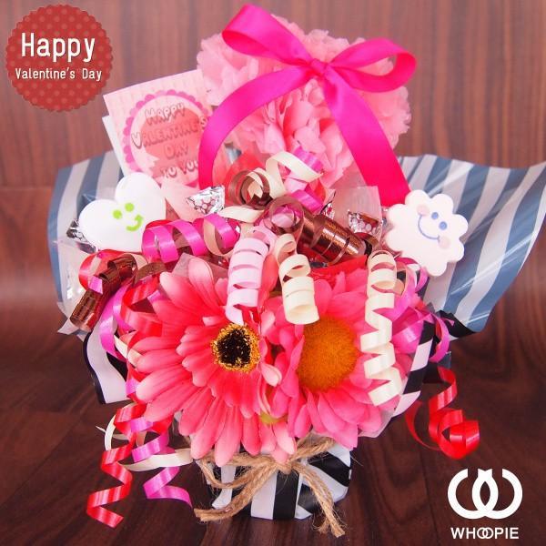 ぽんぽんハートの置き型バレンタインチョコレートブーケ