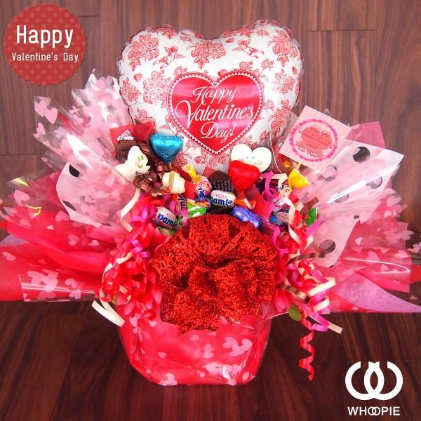 ハートいっぱい!置き型バレンタインチョコ&キャンディブーケアレンジ・ローズバルーン