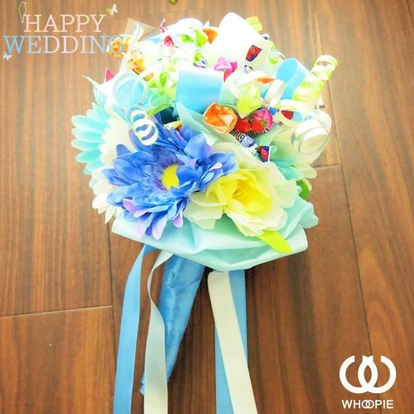 ウエディングブーケトス専用 お菓子の花束キャンディブーケ・ブルー