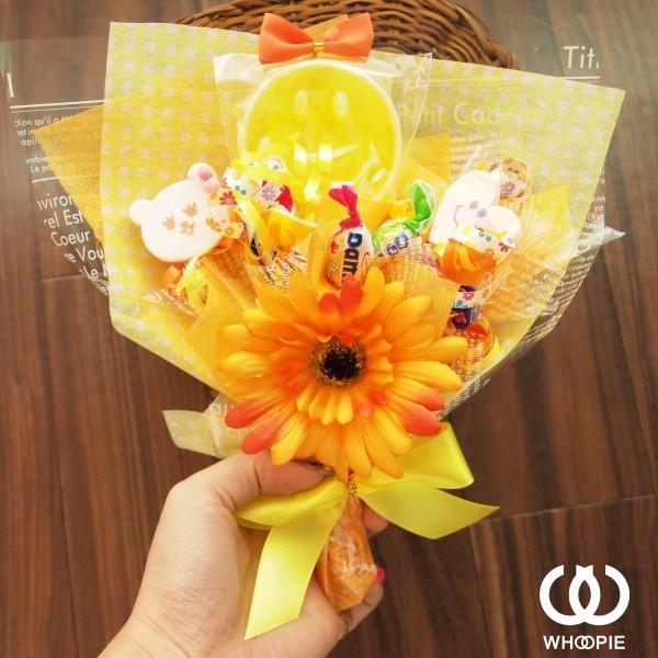 笑顔いっぱい!食べられるお菓子の花束ハッピースマイルキャンディブーケ・イエロー whoopie 02