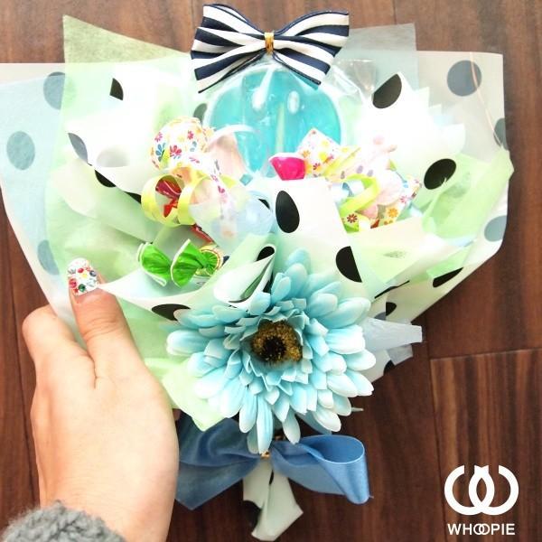 笑顔いっぱい!食べられるお菓子の花束ハッピースマイルキャンディブーケ・ブルー|whoopie|02