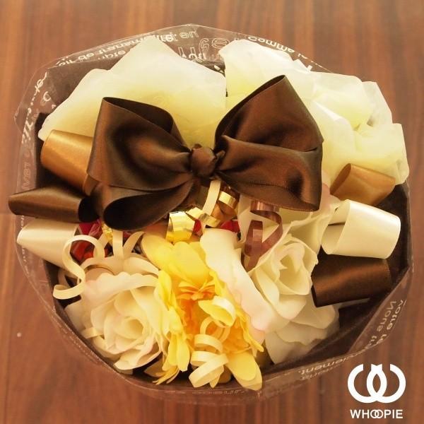 選べる7色!サテンリボンたっぷりのお菓子の花束 贅沢でカラフルなデザイナーズキャンディブーケ・ラウンド型・ブラウン