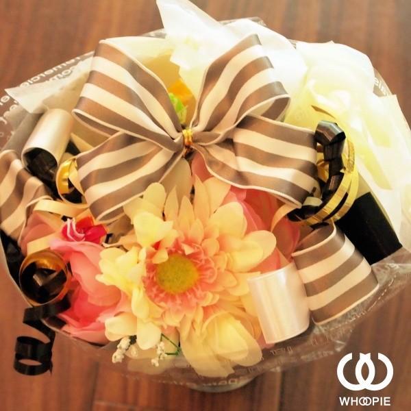 選べる7色!サテンリボンたっぷりのお菓子の花束 贅沢でカラフルなデザイナーズキャンディブーケ・ラウンド型・モノトーン