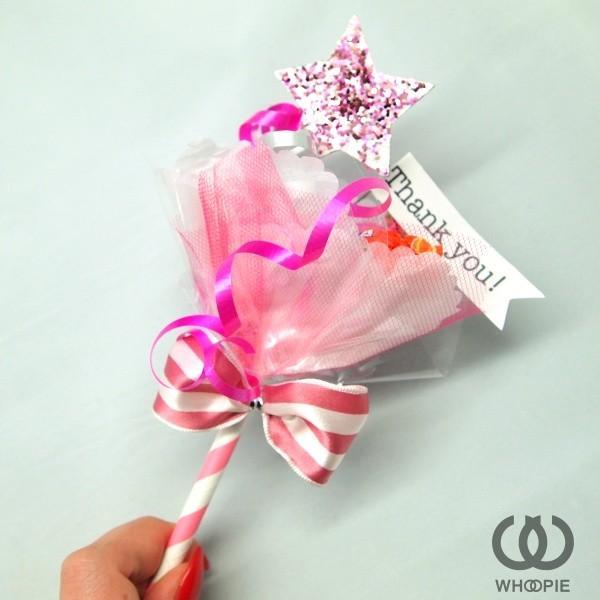 きらきらラメスターが可愛い手持ちのオシャレなキャンディブーケ・ピンク