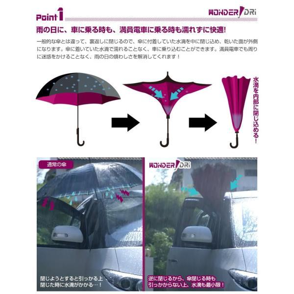 2本セット 傘 長傘 メンズ レディース 逆さ傘 ワンタッチ 80cm プレゼント 軽量 500g ワンダードリ 撥水 UVカット 自立 グラスファイバー|wide02|04