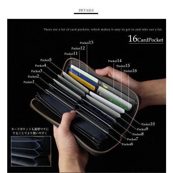 財布 長財布 ラウンドファスナー メンズ 大容量 本革 ギャルソン財布 スリム 薄型 カードがたくさん入る 使いやすい ガバッと開く 風琴マチ お札が折れない|wide02|11