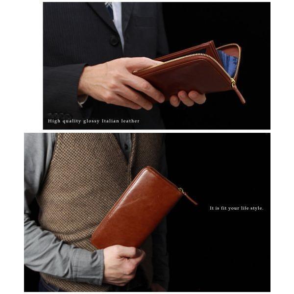 財布 長財布 ラウンドファスナー メンズ 大容量 本革 ギャルソン財布 スリム 薄型 カードがたくさん入る 使いやすい ガバッと開く 風琴マチ お札が折れない|wide02|10