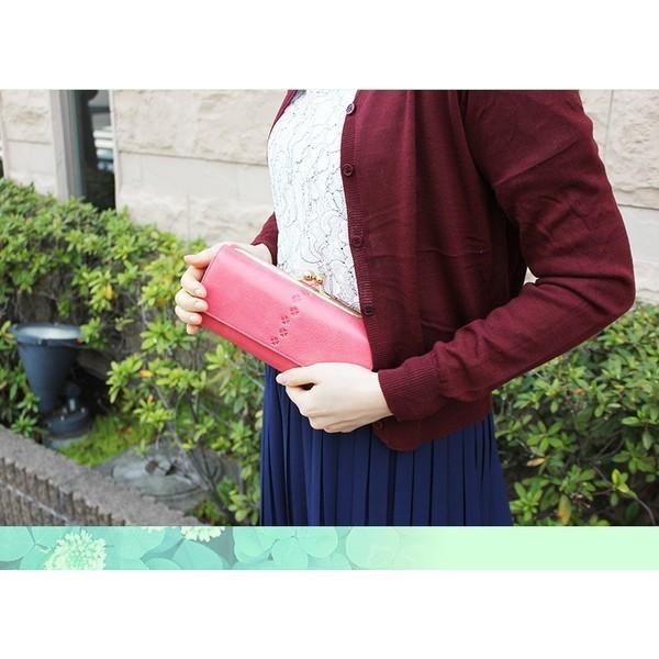 財布 レディース 長財布 がま口 がま口財布 本革 レザー 革 大容量 カードたくさん入る ギフト プレゼント 女性用 おしゃれ クローバー 革 小銭入れ|wide02|18