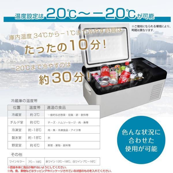 保冷庫 小型 ミニ ポータブル クーラー 20L 大容量 冷蔵庫 冷凍庫 車載 家庭用 室内 部屋用 クルマ 車用 カー用品 12V 24V DC AC 電源式 VS-CB020|wide02|02