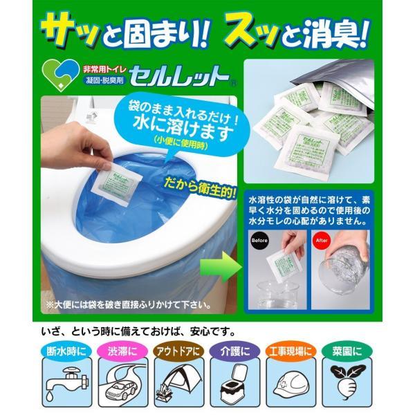 簡易トイレ 非常用 防災用品 防災グッズ アウトドア 洋式 セルレット 30回 凝固剤 処理袋付き 携帯トイレ 汚物袋付き|wide|02