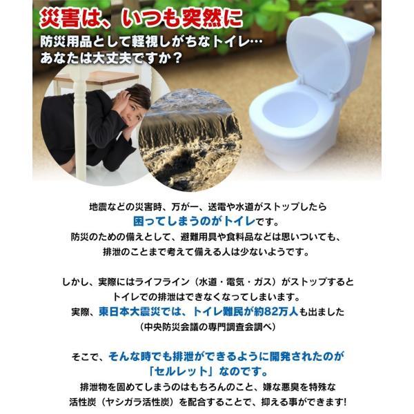 簡易トイレ 非常用 防災用品 防災グッズ アウトドア 洋式 セルレット 30回 凝固剤 処理袋付き 携帯トイレ 汚物袋付き|wide|03